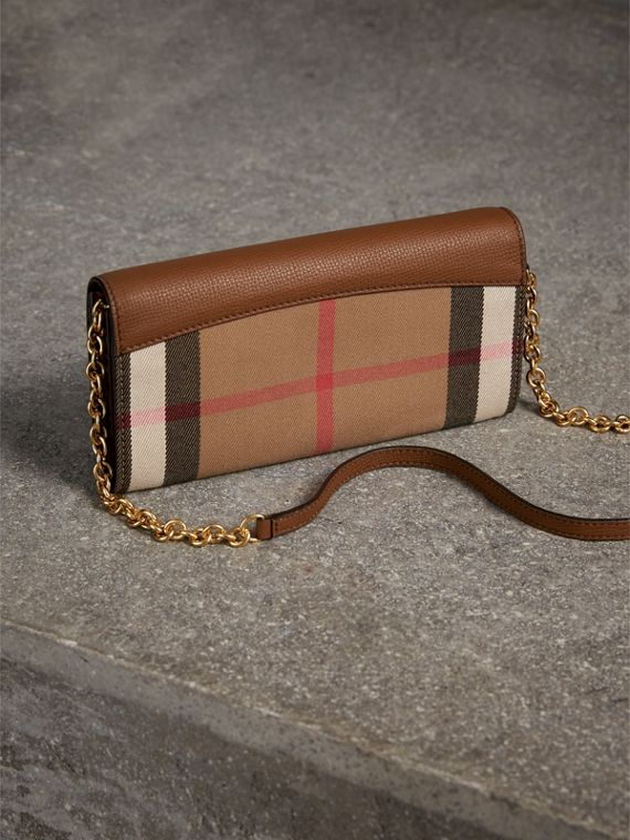House Check and Leather Wallet with Chain in Tan - Women | Burberry - cell image 2
