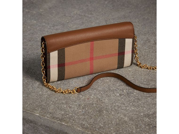 House Check and Leather Wallet with Chain in Tan - Women | Burberry - cell image 4