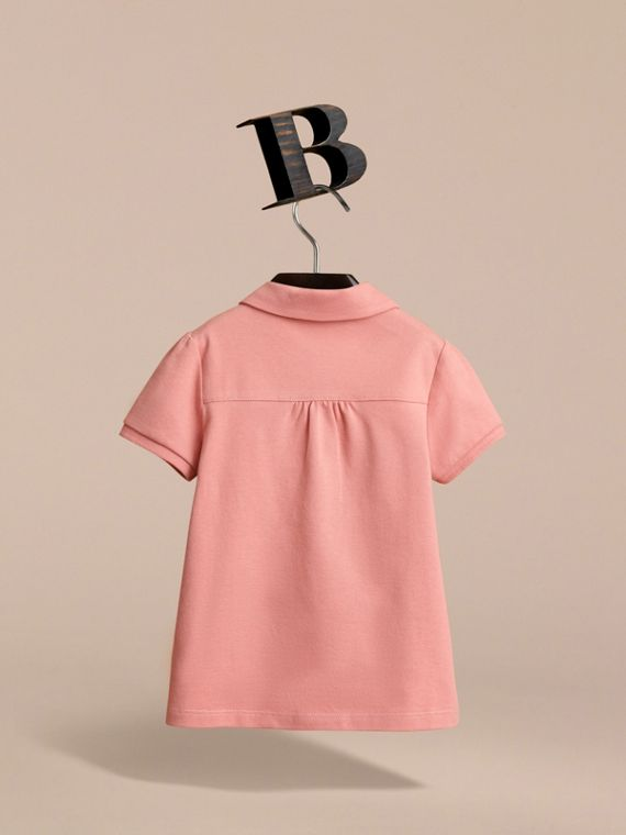 Peter Pan Collar Cotton Piqué Polo Shirt in Pale Rose - Girl | Burberry Canada - cell image 3