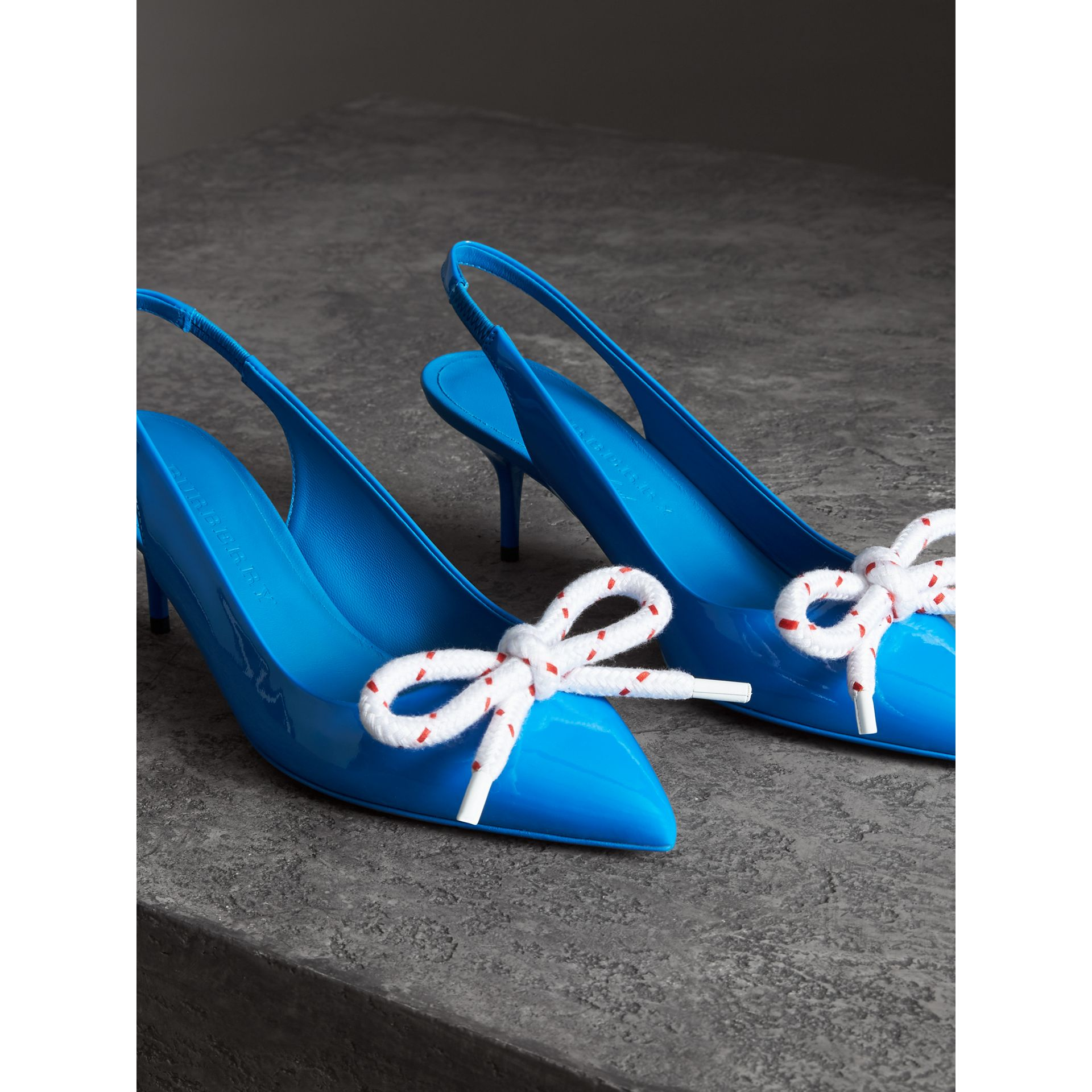 Rope Detail Patent Leather Slingback Pumps in Blue Azure - Women | Burberry - gallery image 3