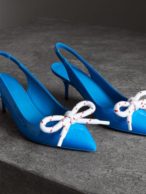 Rope Detail Patent Leather Slingback Pumps in Blue Azure - Women | Burberry - cell image 3