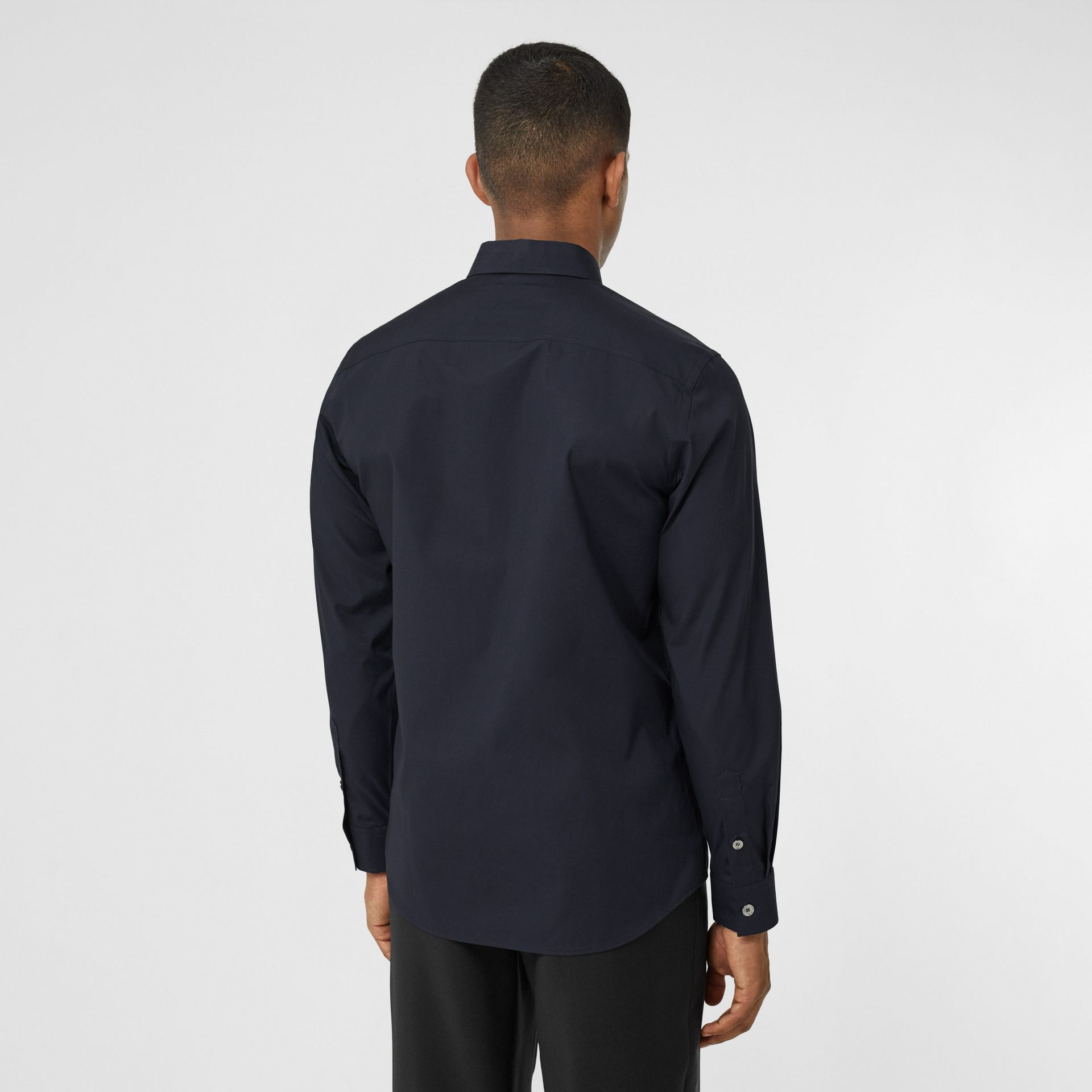 Monogram Motif Stretch Cotton Poplin Shirt in Navy - Men | Burberry Australia - gallery image 2