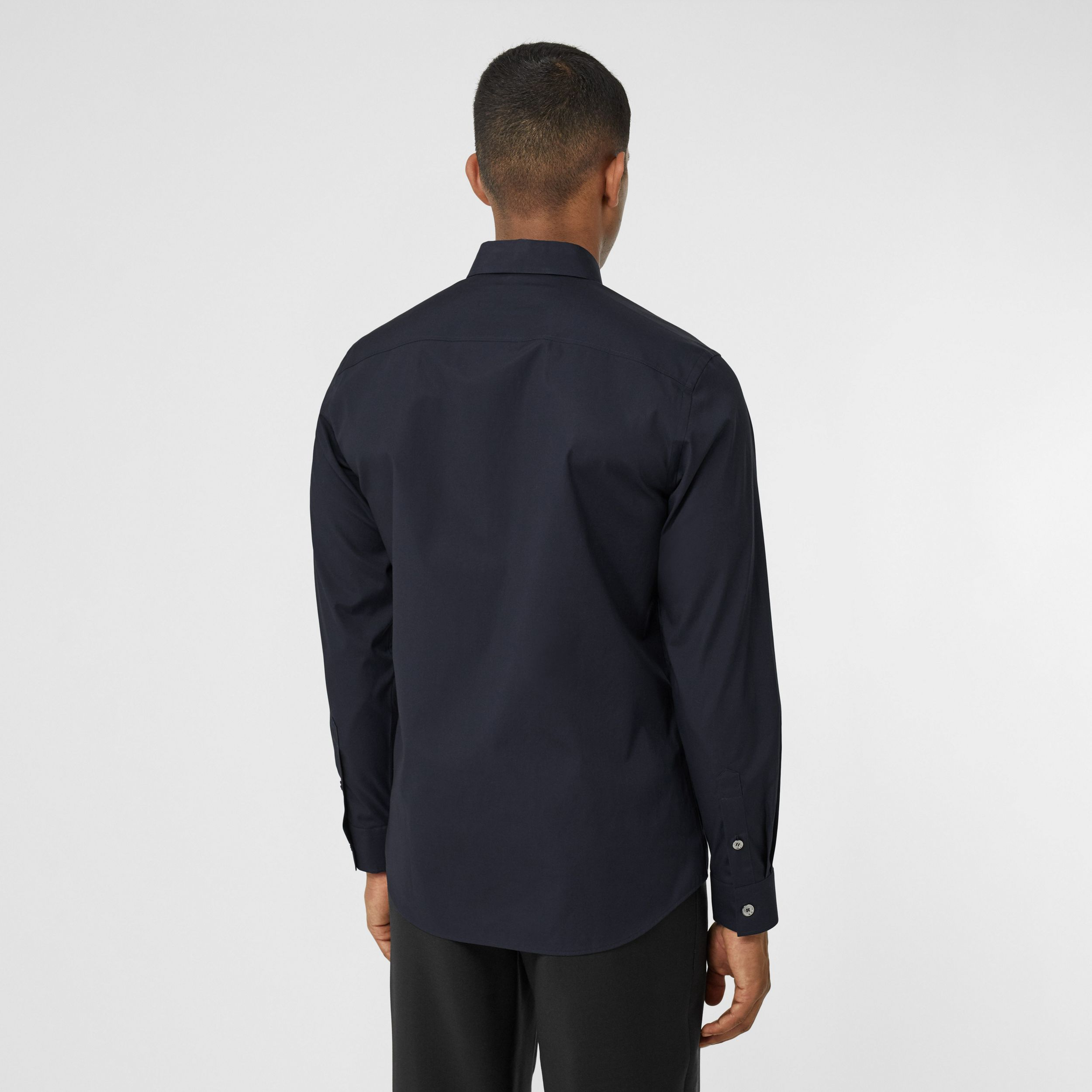 Monogram Motif Stretch Cotton Poplin Shirt in Navy - Men | Burberry - 3
