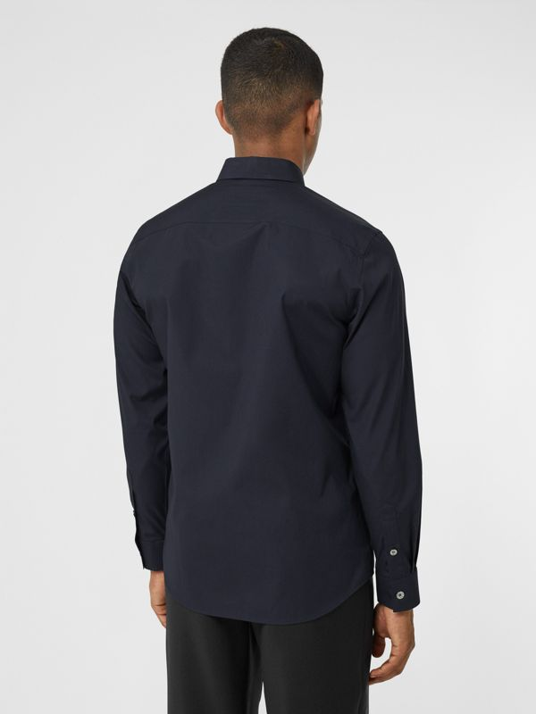 Monogram Motif Stretch Cotton Poplin Shirt in Navy - Men | Burberry Australia - cell image 2