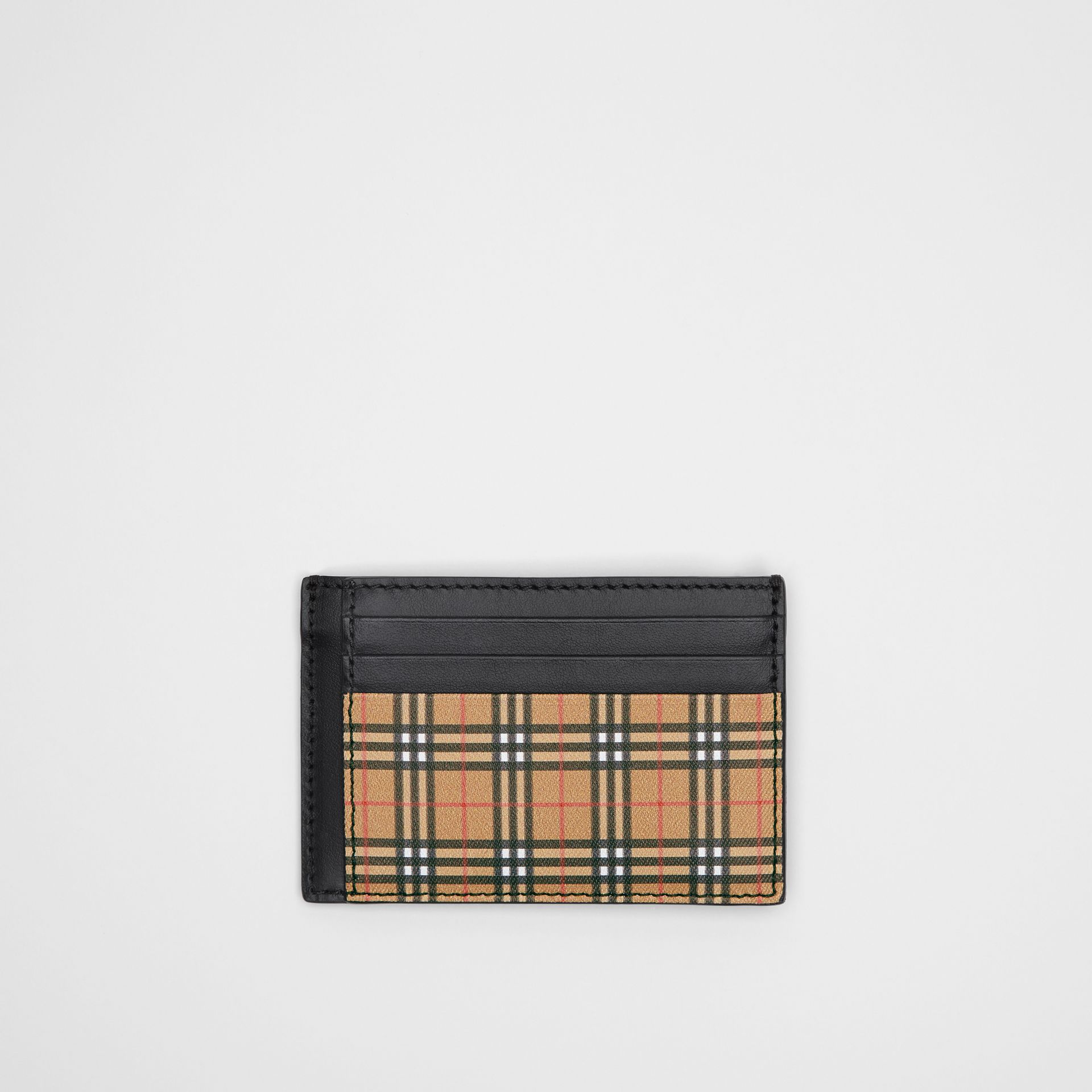 Small Scale Check and Leather Money Clip Card Case in Antique Yellow/black - Men | Burberry Singapore - gallery image 0