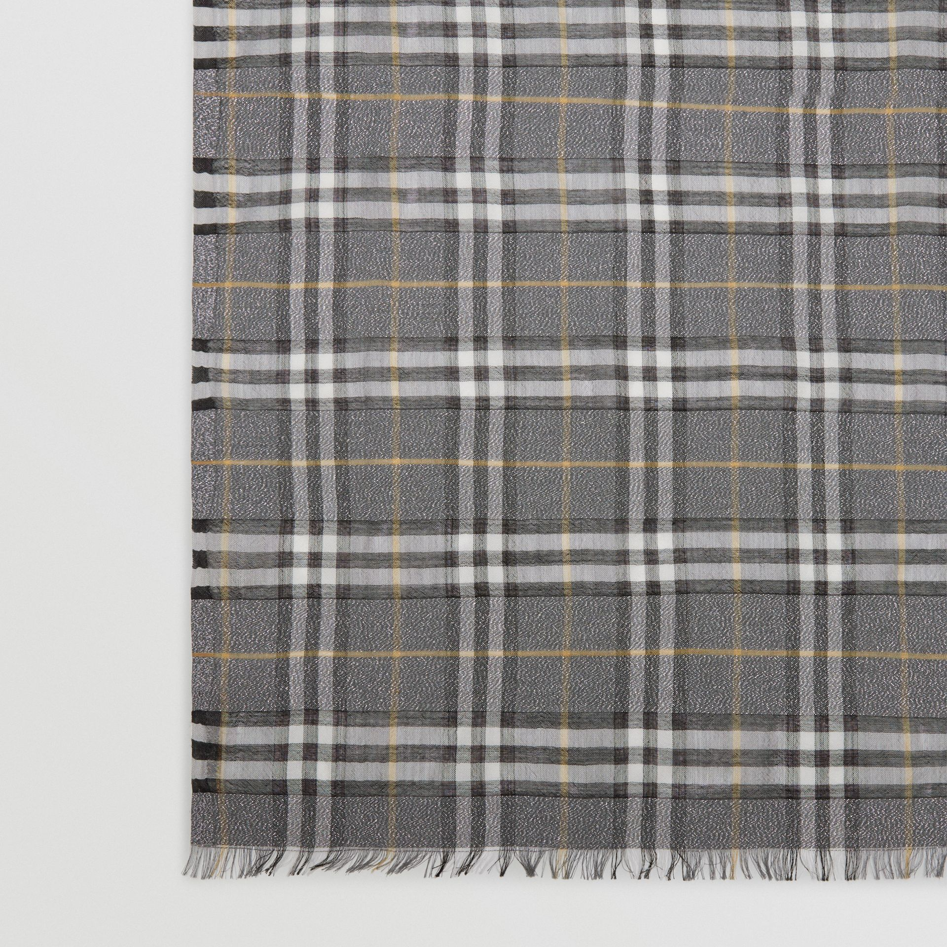 Metallic Vintage Check Wool Silk Blend Scarf in Pewter Grey | Burberry - gallery image 1