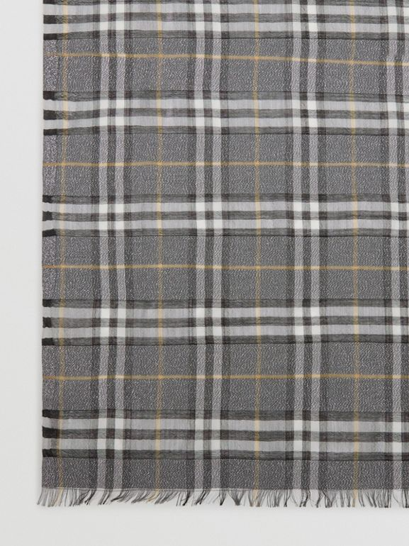 Metallic Vintage Check Wool Silk Blend Scarf in Pewter Grey | Burberry - cell image 1