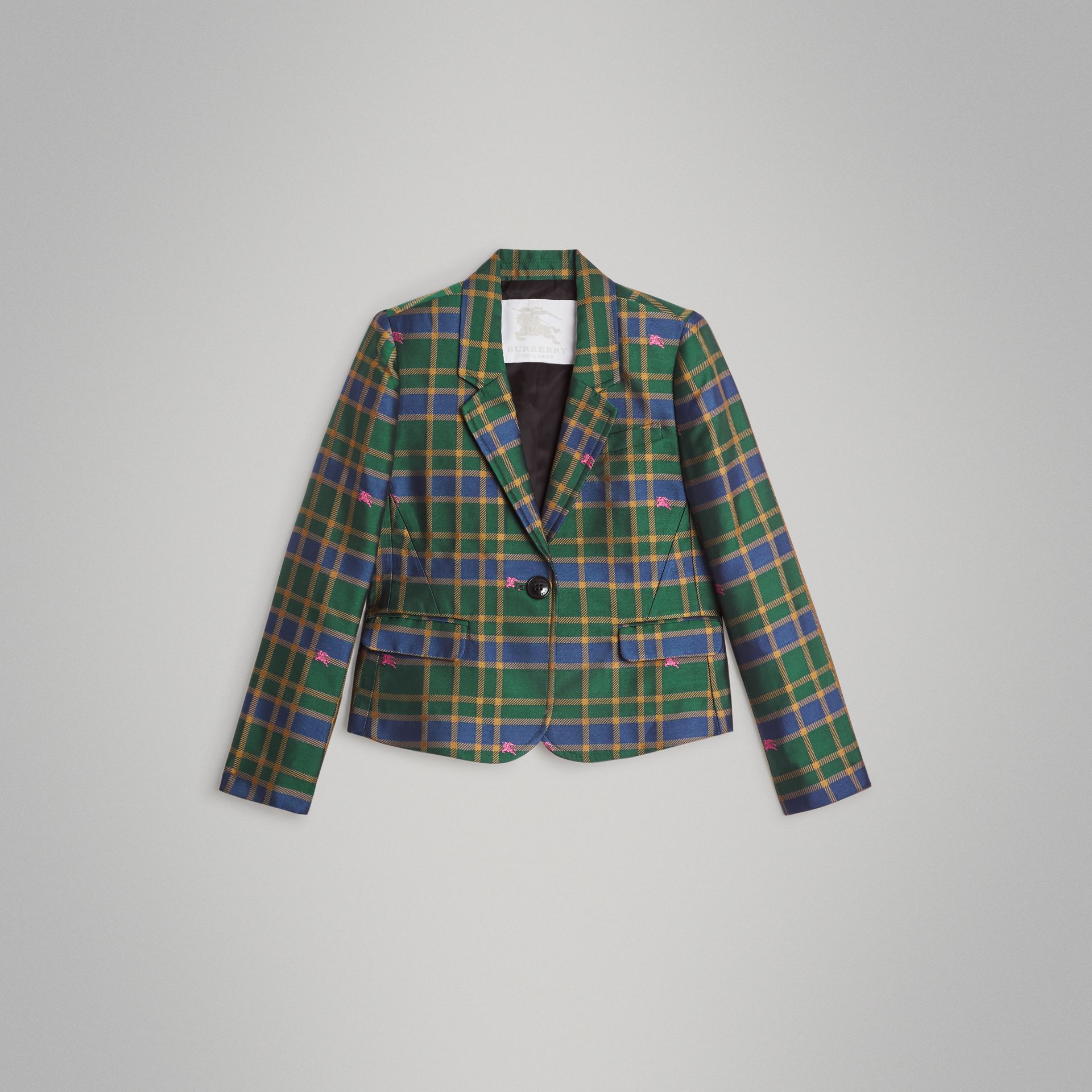 Equestrian Knight Check Blazer in Dark Navy | Burberry Australia - gallery image 0