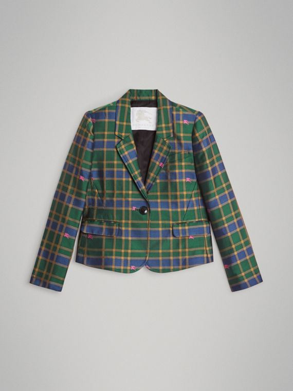 Equestrian Knight Check Blazer in Dark Navy