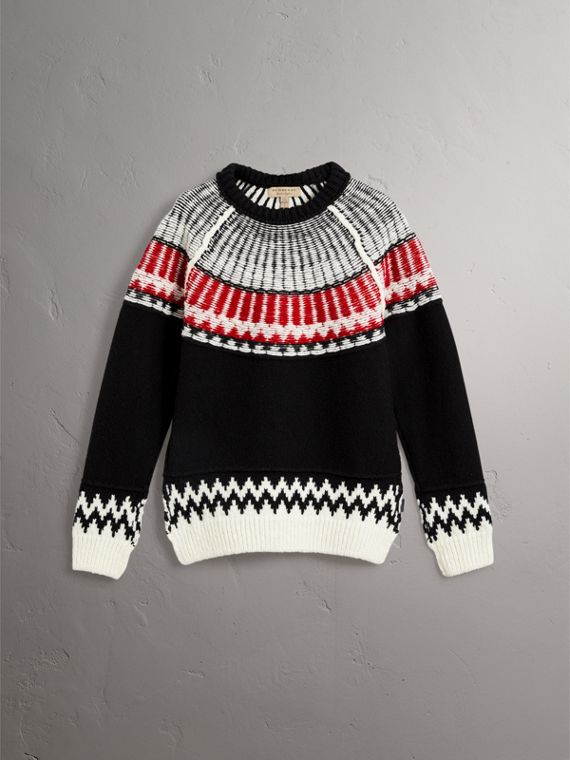 Fair Isle Wool Cashmere Sweater in Black/ Military Red - Women | Burberry - cell image 3