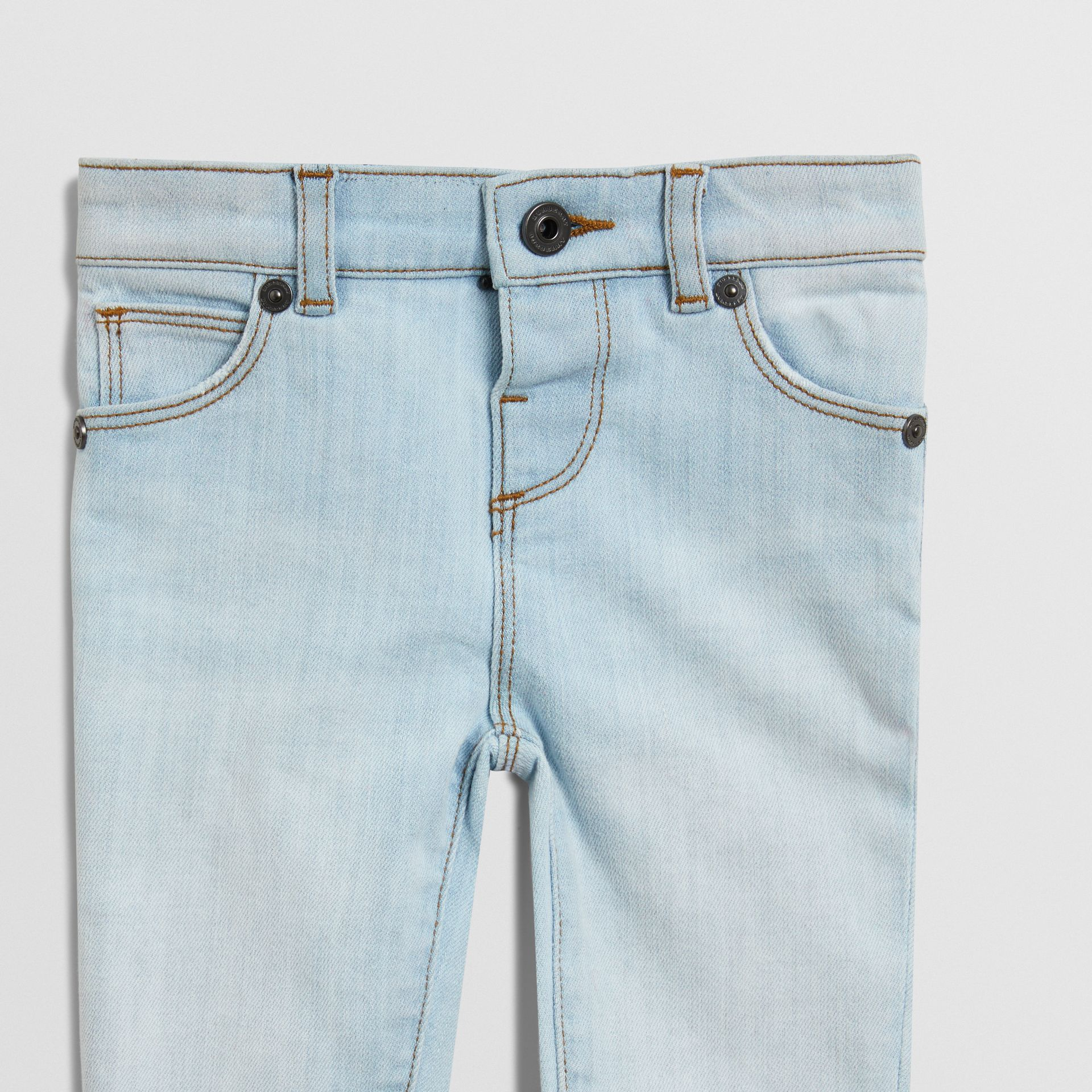 Skinny Fit Stretch Denim Jeans in Light Blue - Children | Burberry Canada - gallery image 4