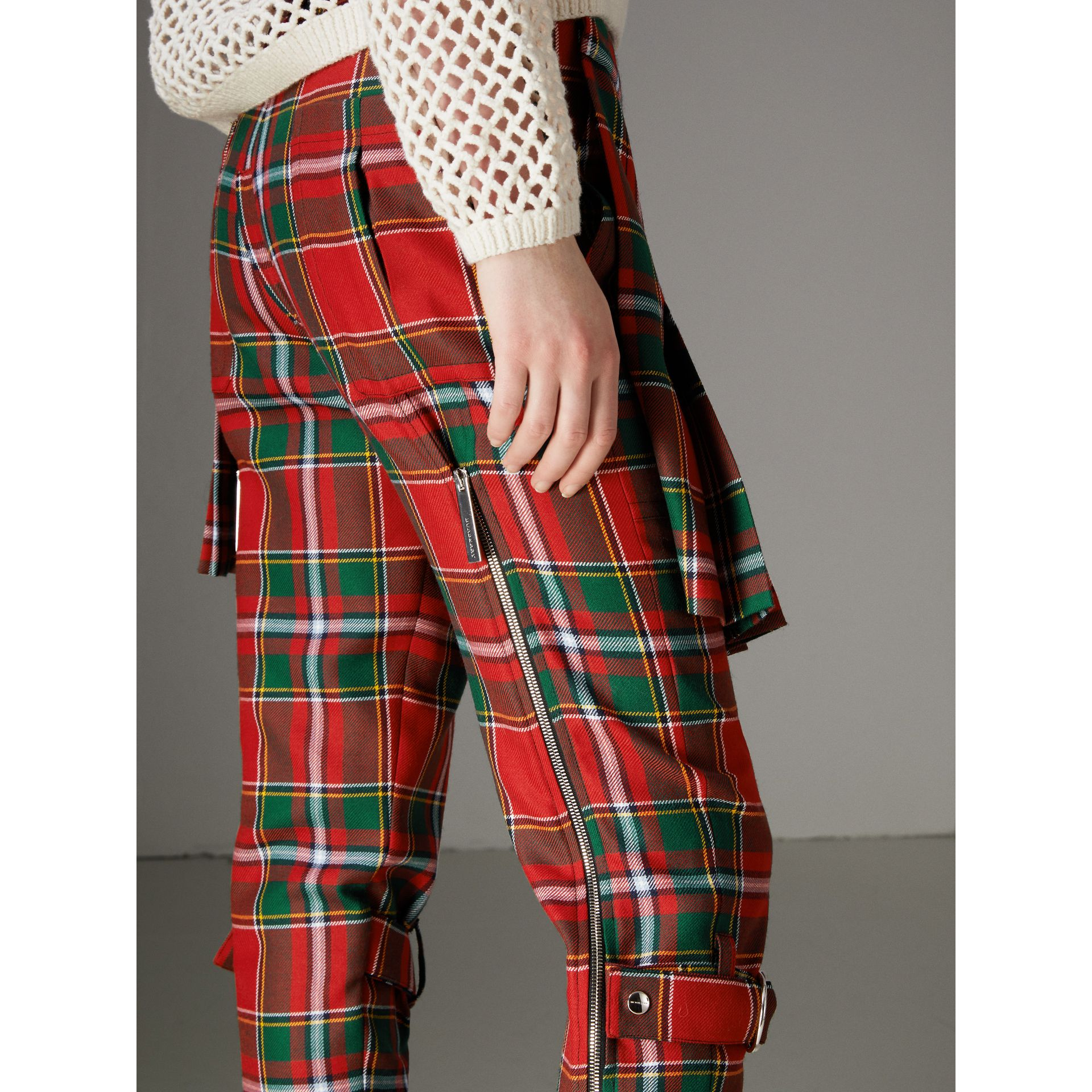 Modern Stewart Royal Tartan Punk Trousers in Bright Red - Women | Burberry - gallery image 1