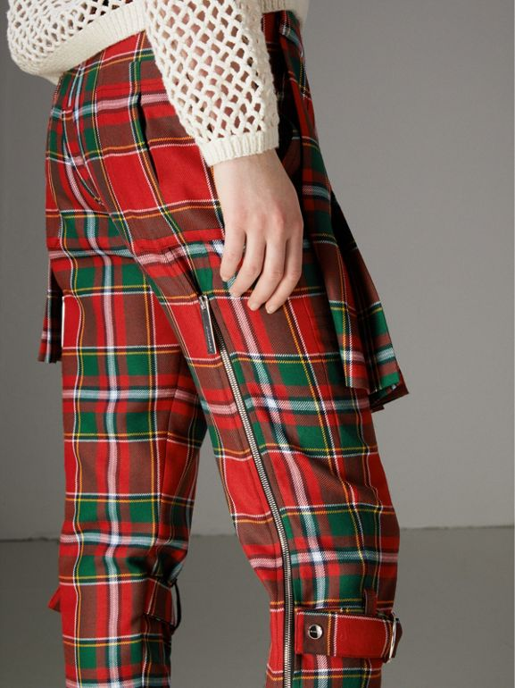 Modern Stewart Royal Tartan Punk Trousers in Bright Red - Women | Burberry United States - cell image 1