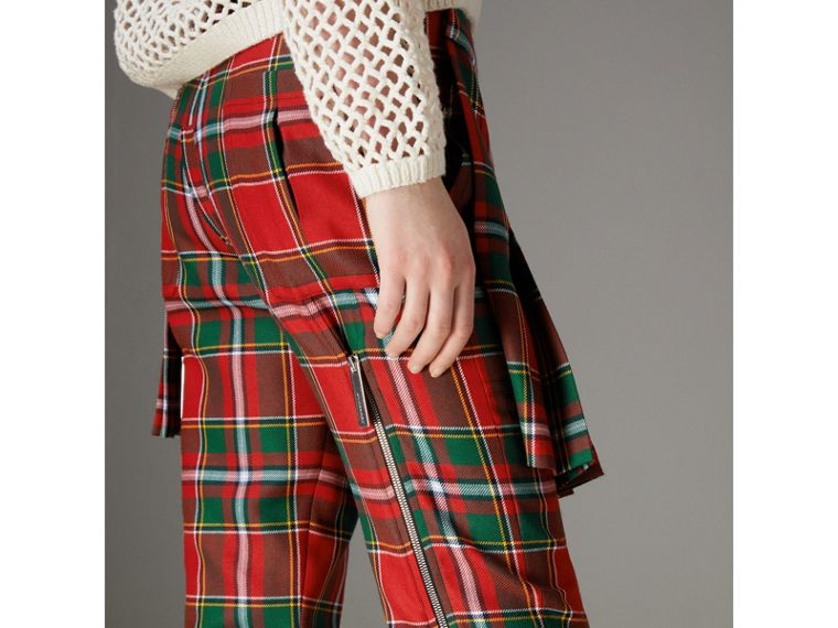 Modern Stewart Royal Tartan Punk Trousers in Bright Red - Women | Burberry - cell image 1