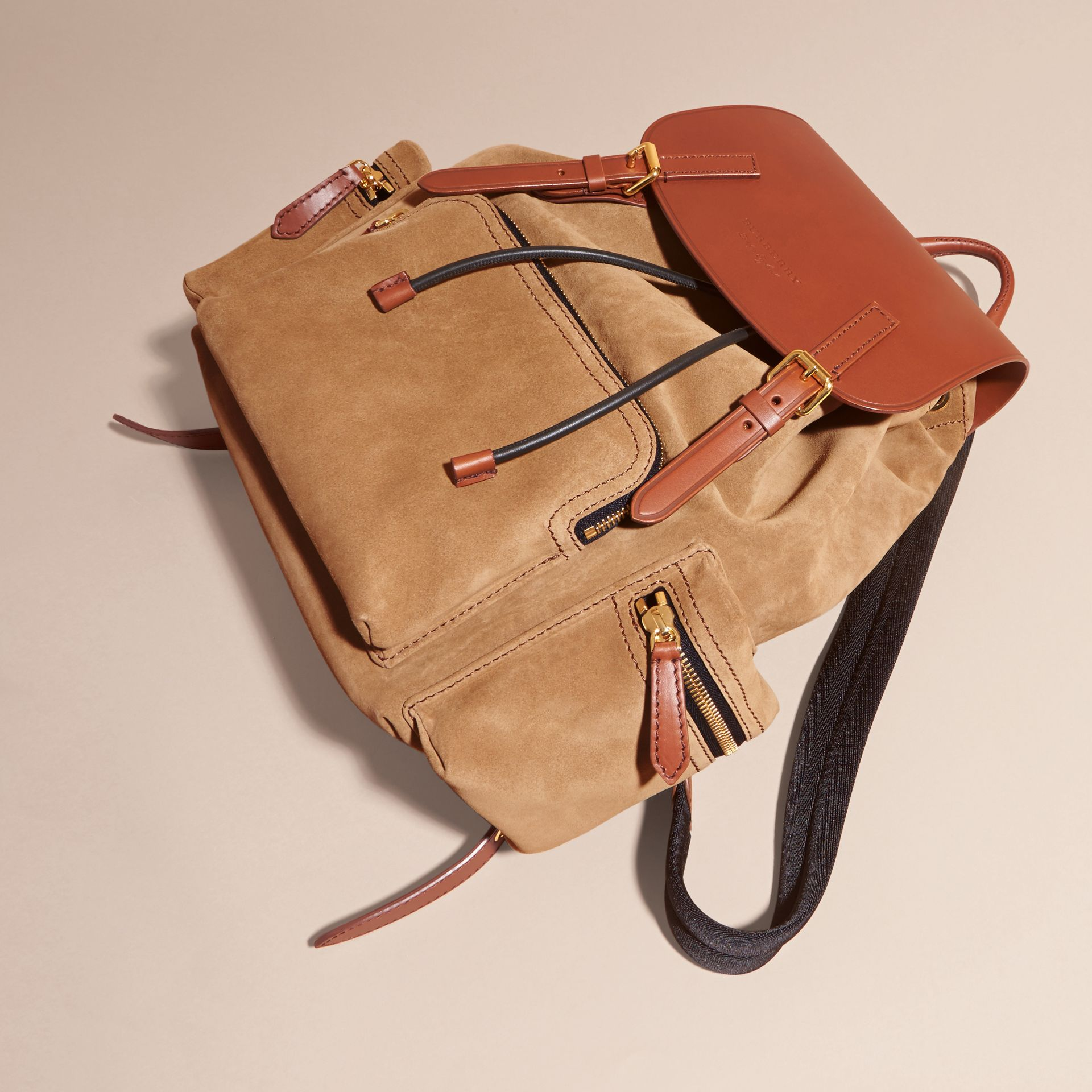 Tan The Large Rucksack in Suede and Bridle Leather - gallery image 7