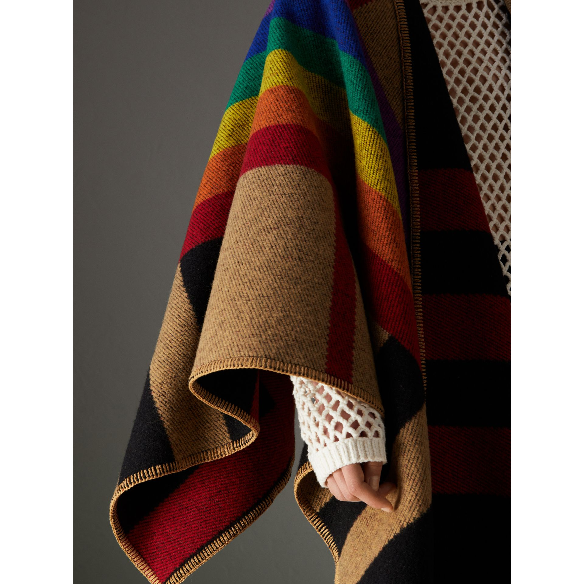 Rainbow Vintage Check Wool Cashmere Poncho in Antique Yellow/rainbow - Women | Burberry Canada - gallery image 1