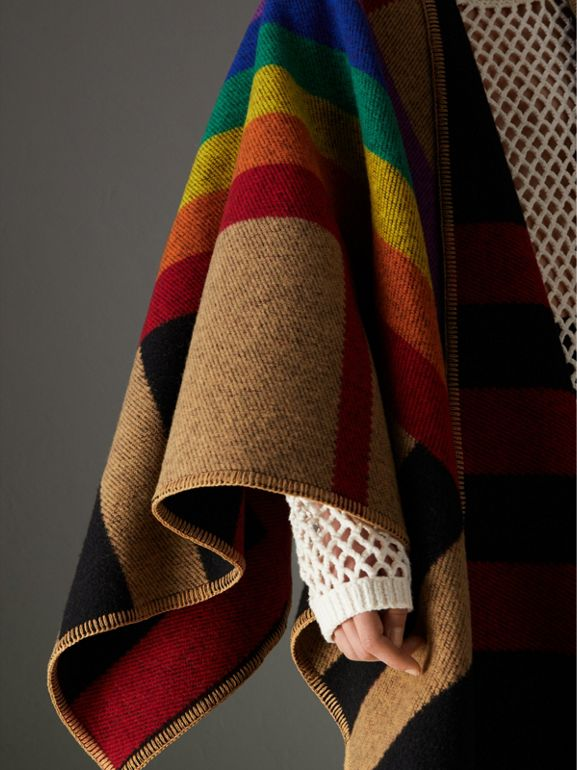 Rainbow Vintage Check Wool Cashmere Poncho in Antique Yellow/rainbow - Women | Burberry - cell image 1