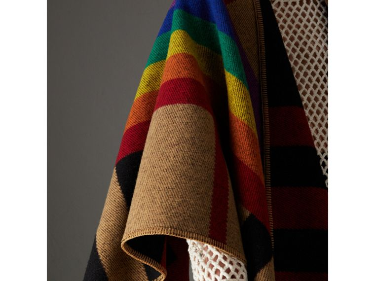Rainbow Vintage Check Wool Cashmere Poncho in Antique Yellow/rainbow - Women | Burberry Australia - cell image 1