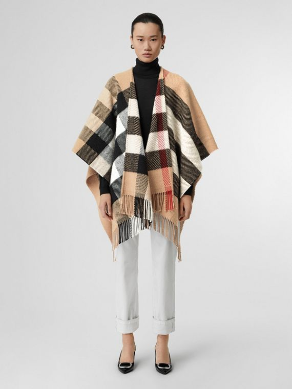 Check Wool Cashmere Cape in Camel