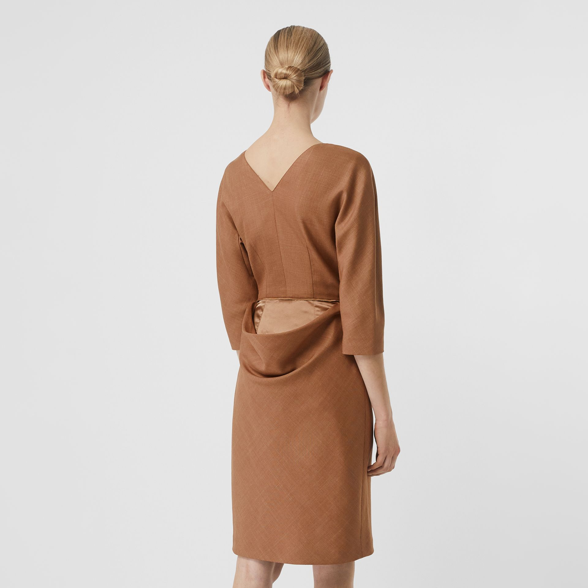 Double-waist Wool Silk Mohair Linen Dress in Bronze - Women | Burberry - gallery image 2