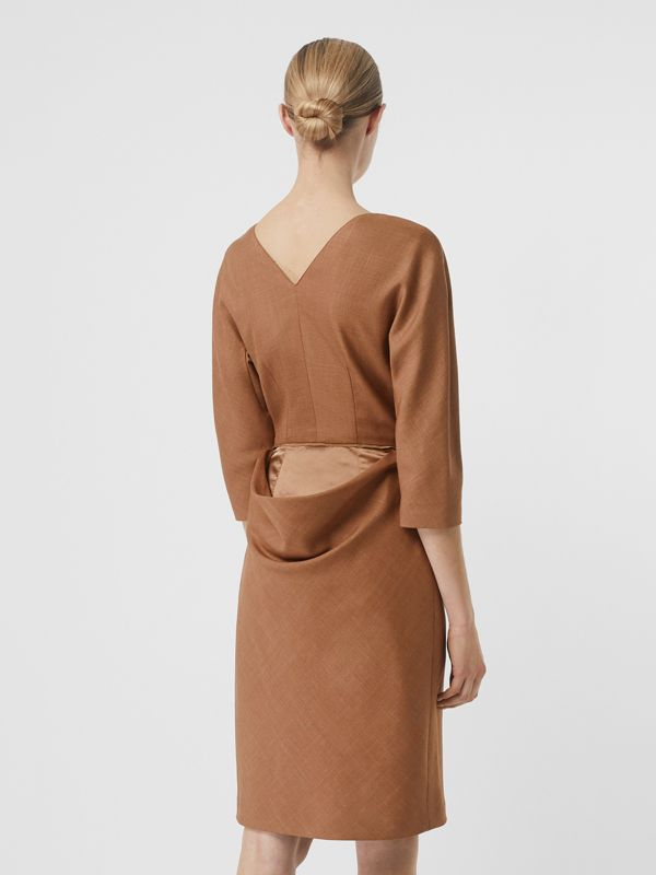 Double-waist Wool Silk Mohair Linen Dress in Bronze - Women | Burberry - cell image 2