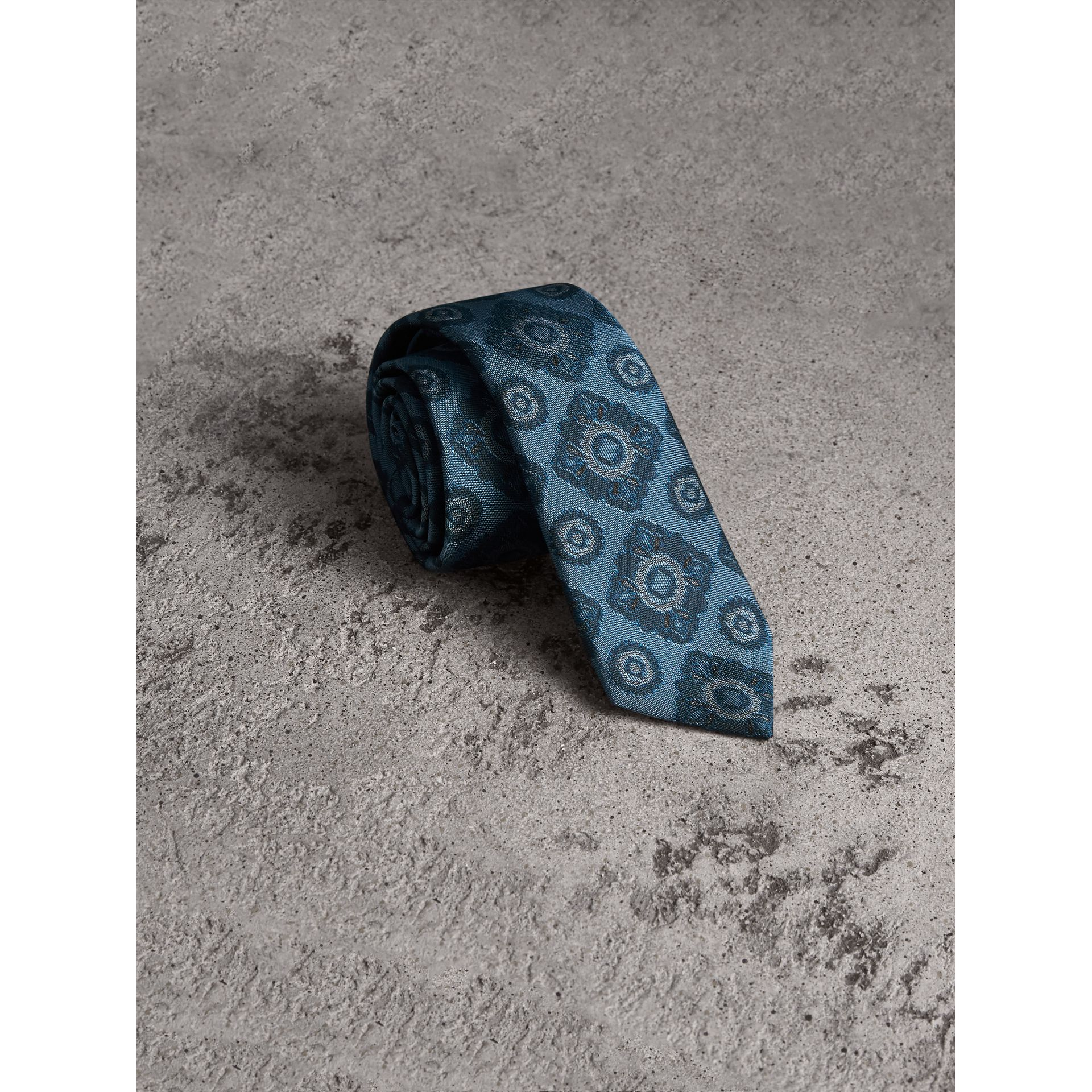 Slim Cut Tiled Floral Silk Jacquard Tie in Canvas Blue - Men | Burberry - gallery image 0
