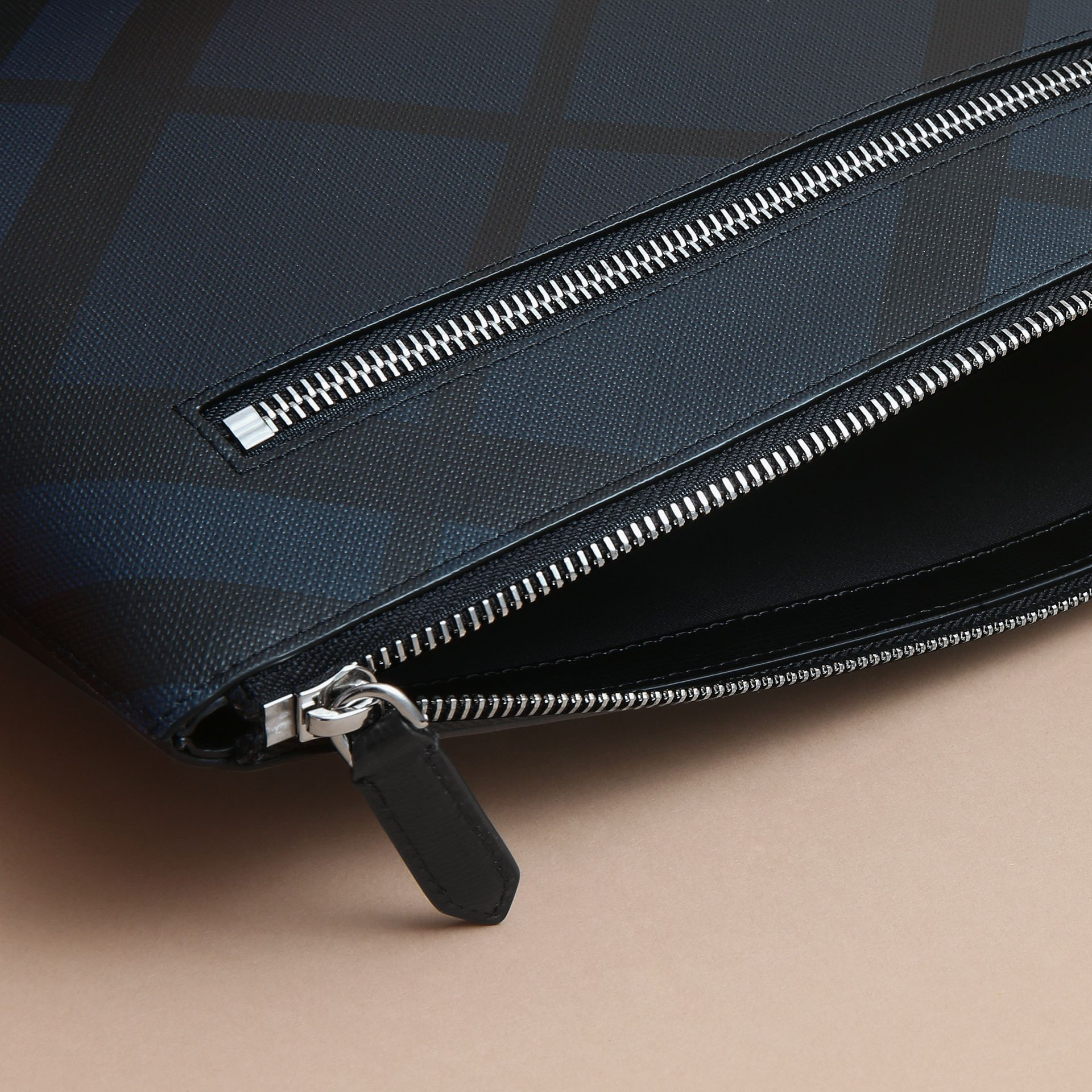 Large London Check Zip Pouch in Navy/black - Men | Burberry - gallery image 5