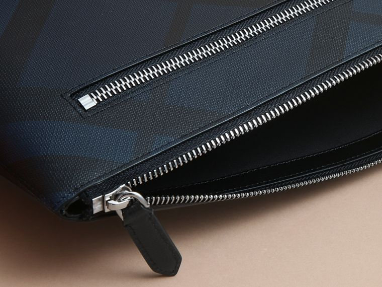 Large London Check Zip Pouch in Navy/black - Men | Burberry - cell image 4