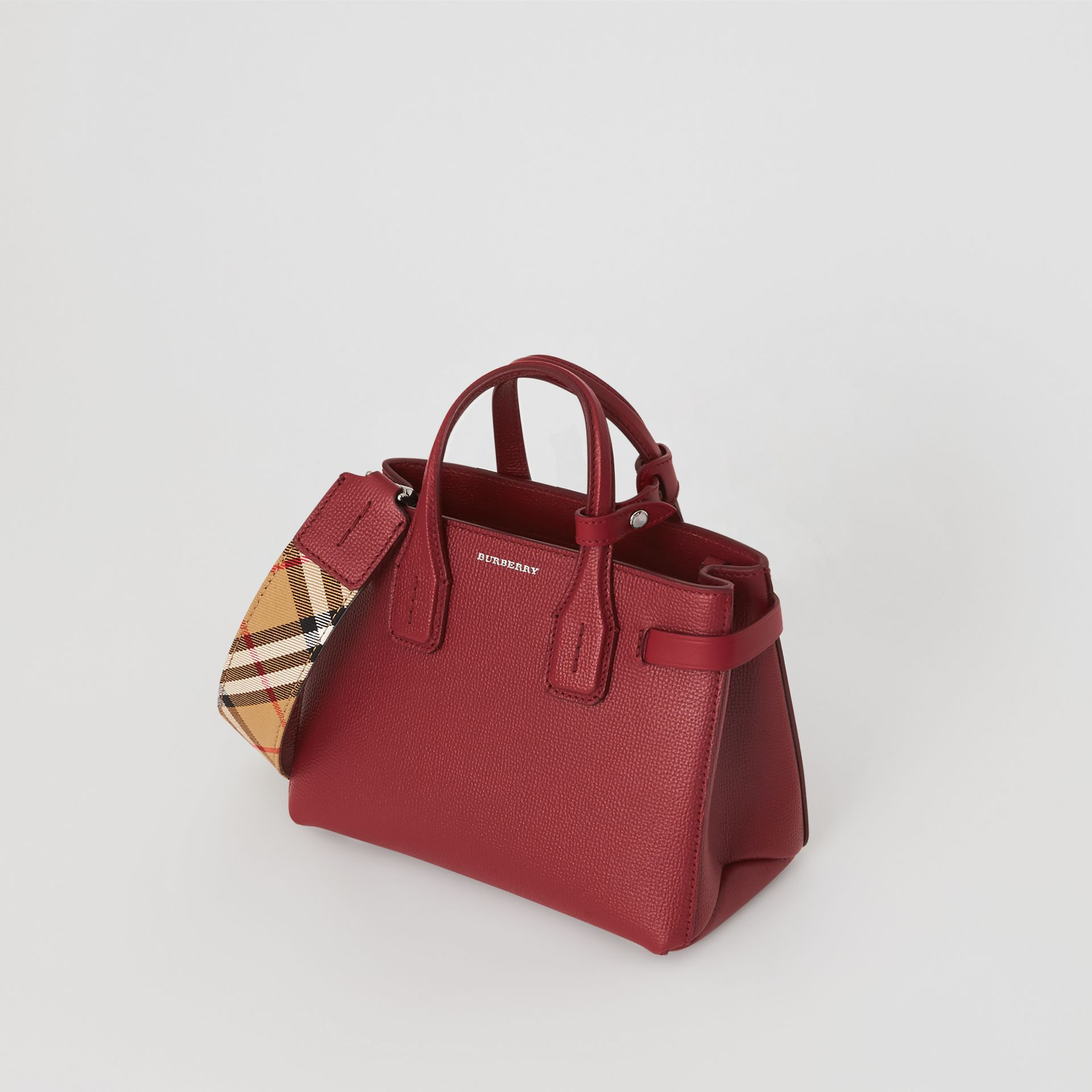 The Baby Banner in Leather and Vintage Check in Crimson - Women | Burberry - gallery image 2