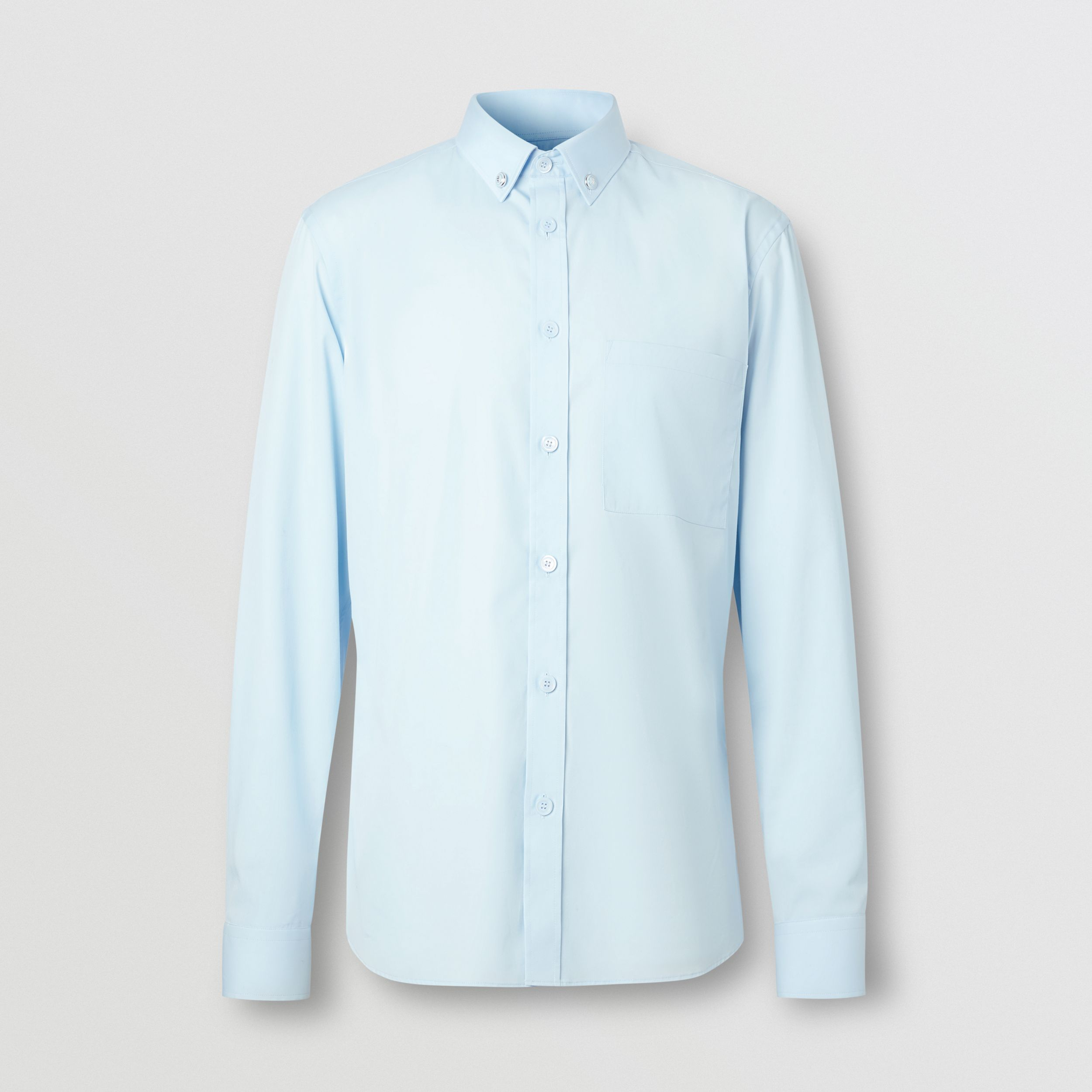 Slim Fit Stretch Cotton Poplin Shirt in Pale Blue - Men | Burberry Canada - 4