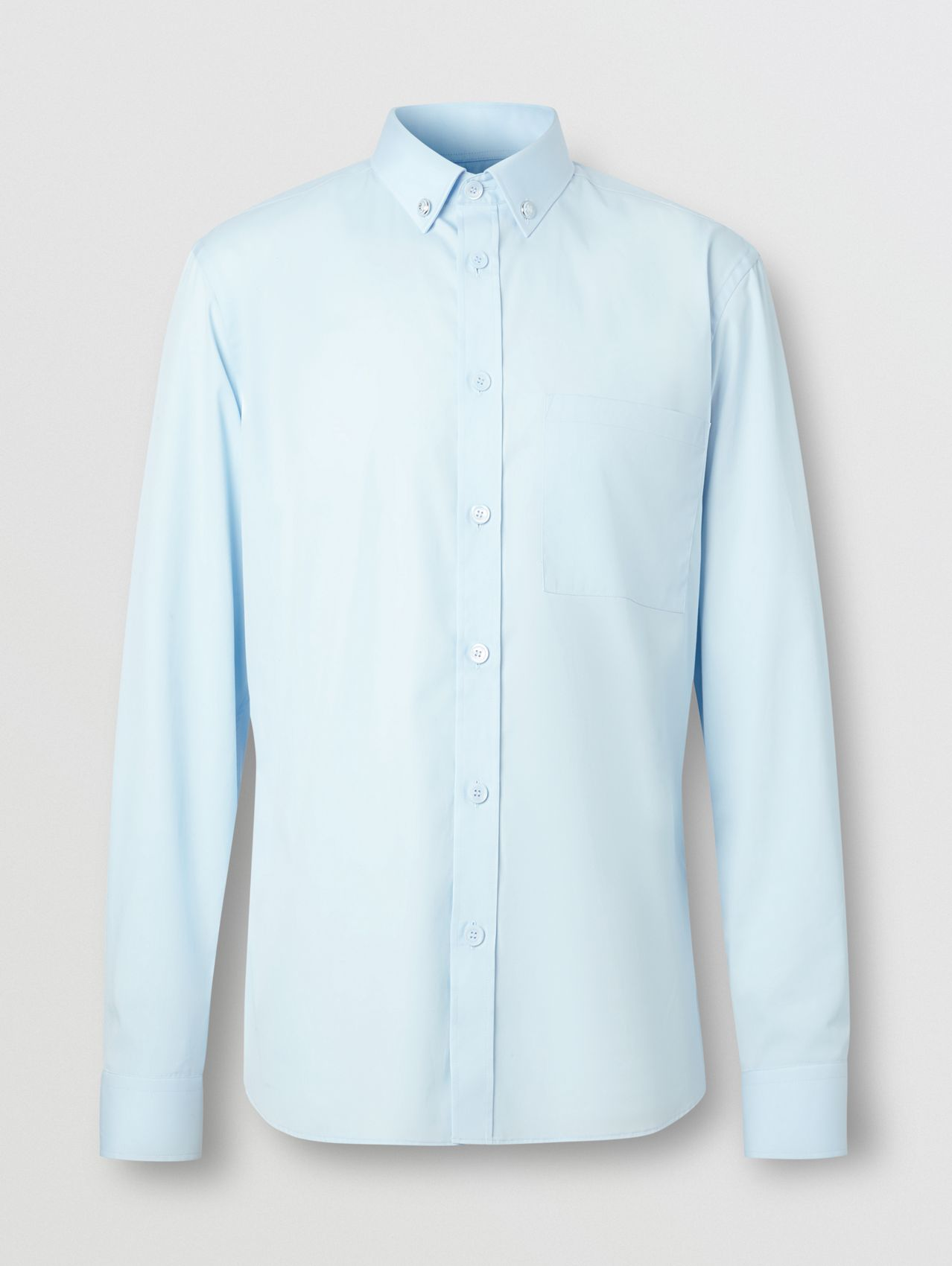 Slim Fit Stretch Cotton Poplin Shirt in Pale Blue