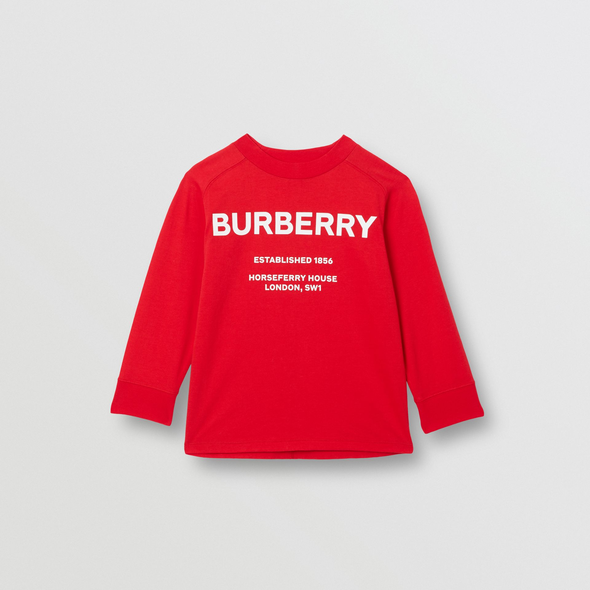 Long-sleeve Horseferry Print Cotton Top in Bright Red | Burberry United Kingdom - gallery image 0