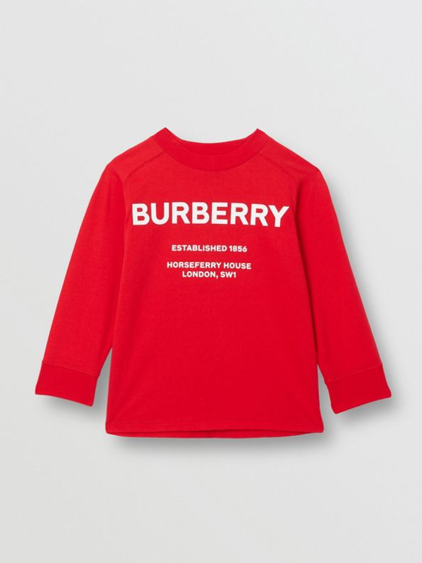 Long-sleeve Horseferry Print Cotton Top in Bright Red