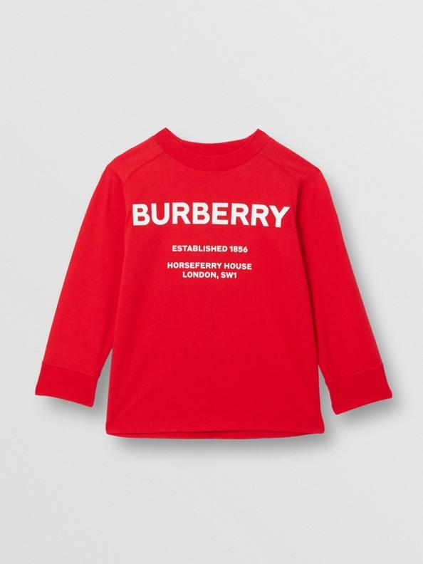 Blusa de algodão com mangas longas e estampa Horseferry (Vermelho Intenso)
