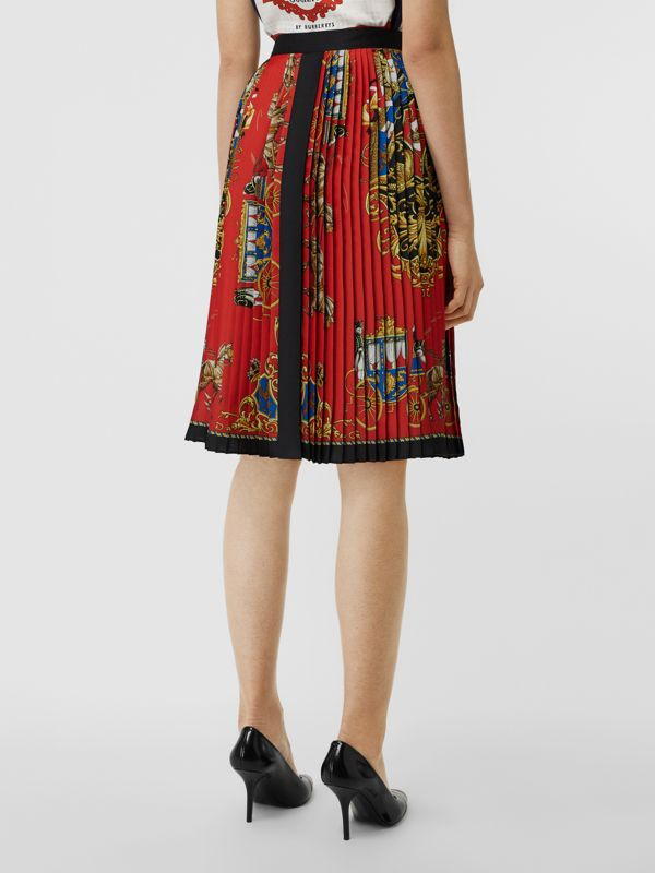 Archive Scarf Print Pleated Skirt in Bright Orange - Women | Burberry United States - cell image 2