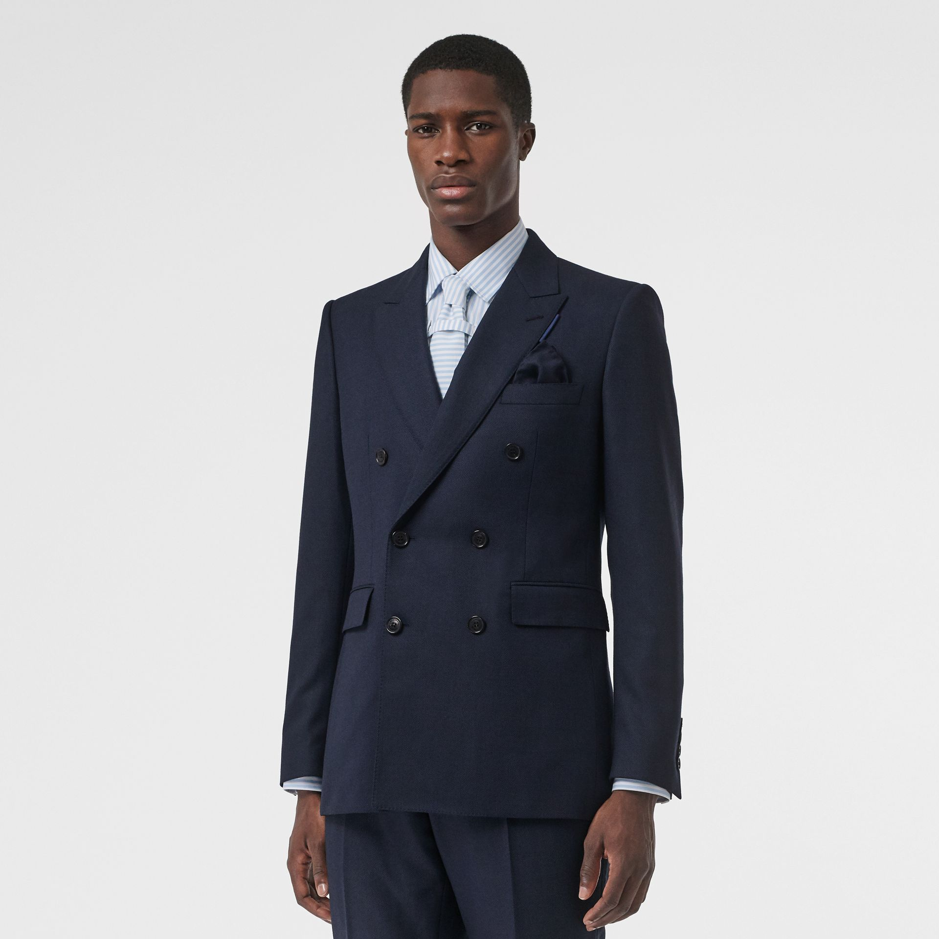 English Fit Birdseye Wool Cashmere Suit in Navy Blue | Burberry Singapore - gallery image 5