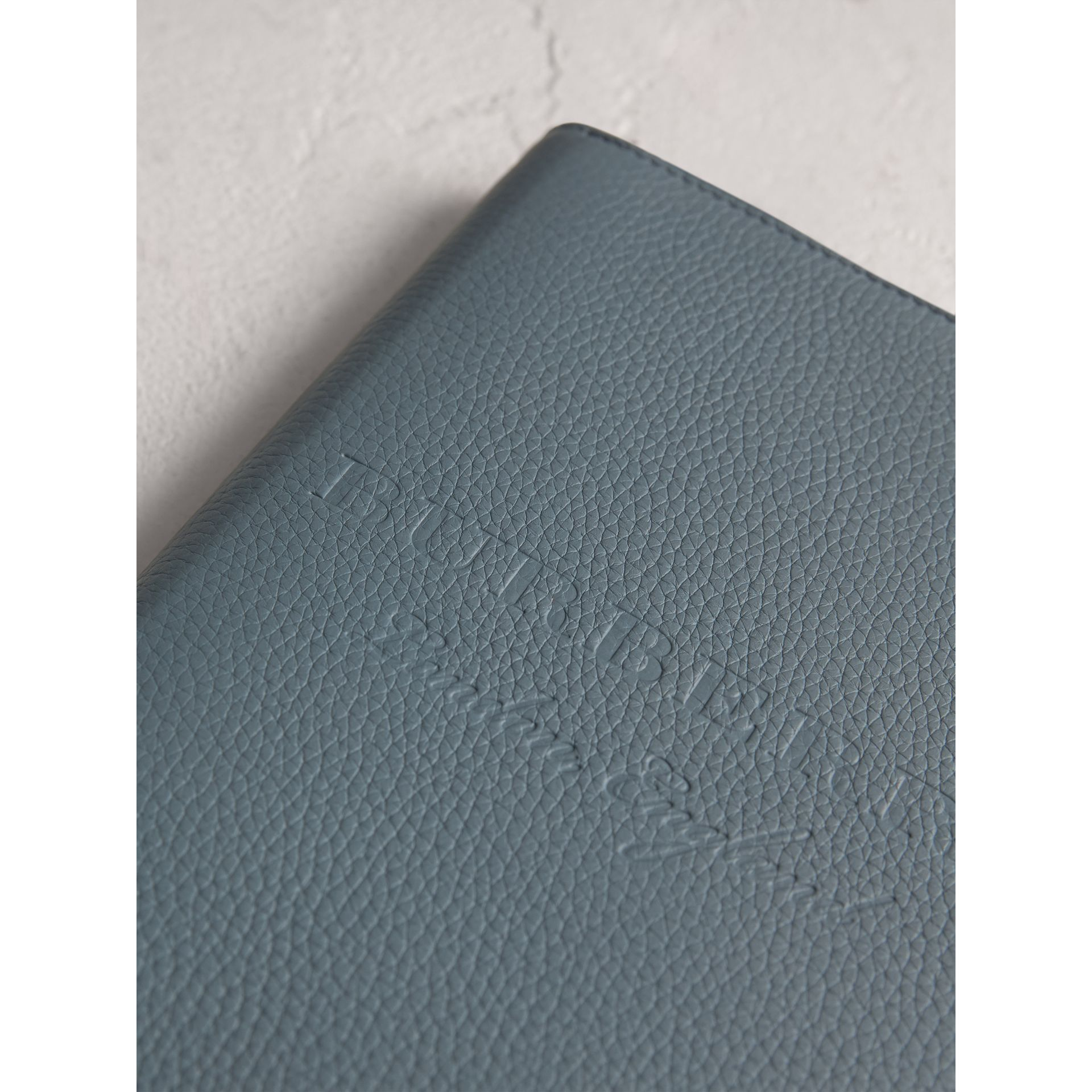Embossed Leather Ziparound A5 Notebook Case in Dusty Teal Blue | Burberry Singapore - gallery image 1