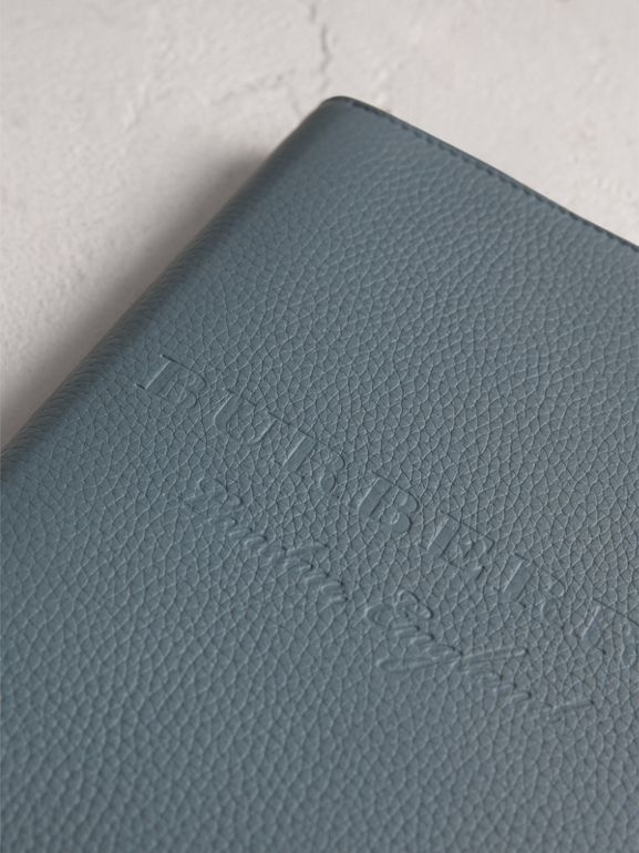 Embossed Leather Ziparound A5 Notebook Case in Dusty Teal Blue | Burberry Singapore - cell image 1