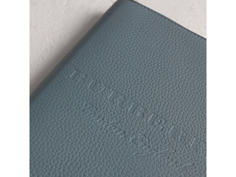 Embossed Leather Ziparound A5 Notebook Case in Dusty Teal Blue | Burberry - cell image 1