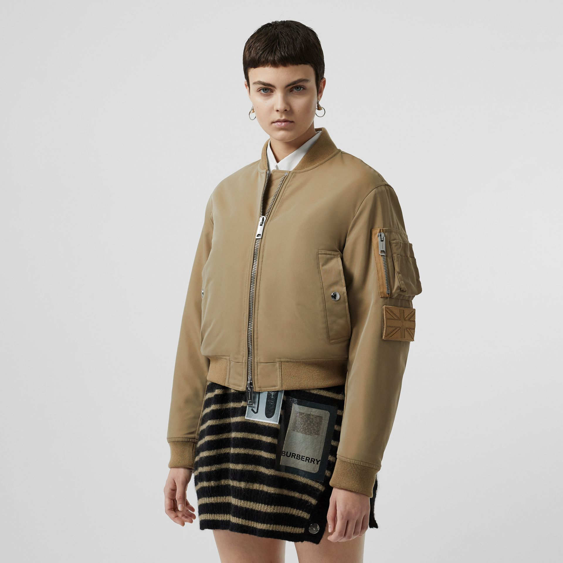 Union Jack Motif Nylon Bomber Jacket in Honey - Women | Burberry - gallery image 5
