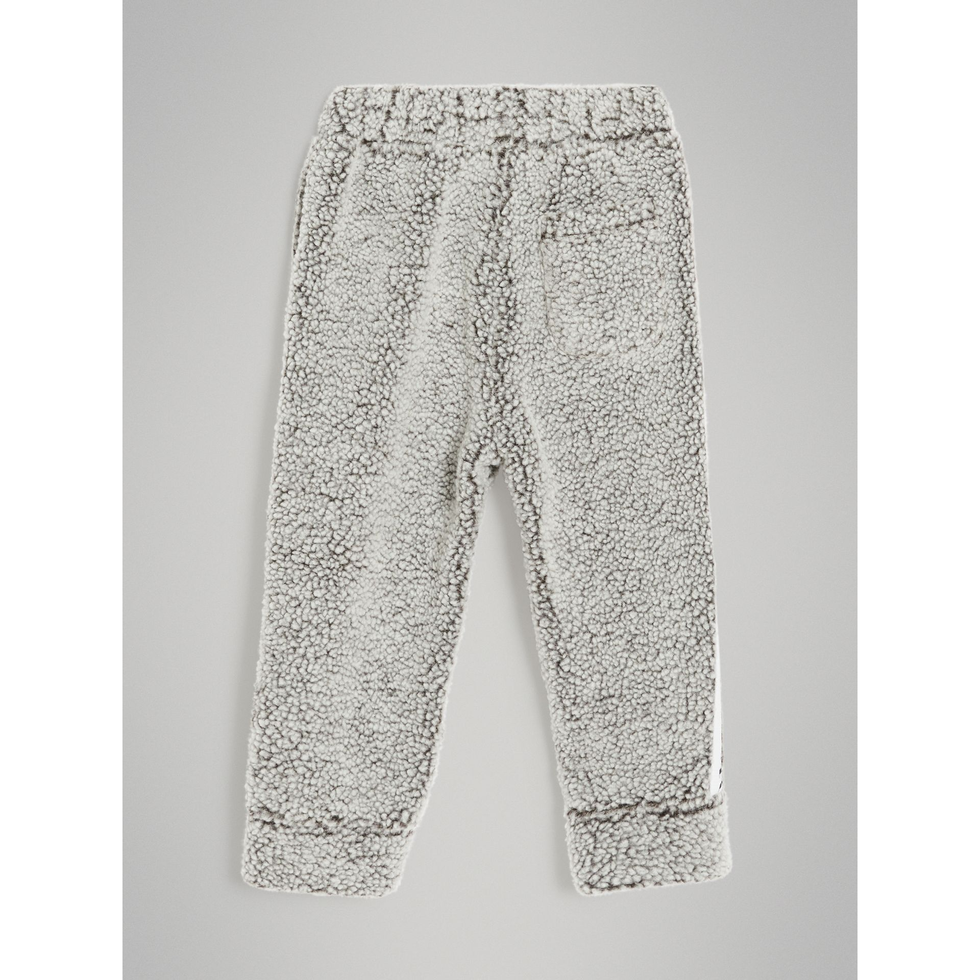 Logo Stripe Faux Shearling Sweatpants in Grey Melange | Burberry - gallery image 3