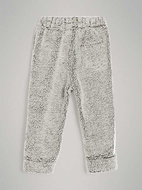 Logo Stripe Faux Shearling Sweatpants in Grey Melange - Boy | Burberry - cell image 2