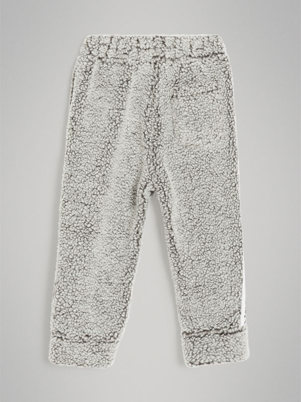 Logo Stripe Faux Shearling Sweatpants in Grey Melange | Burberry - cell image 3