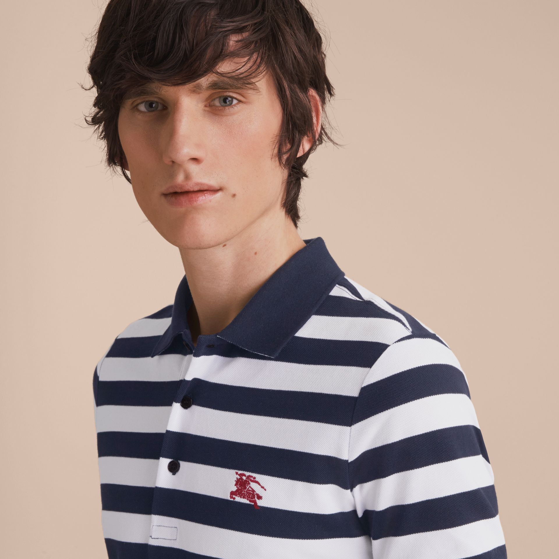 Striped Cotton Polo Shirt White/navy - gallery image 5