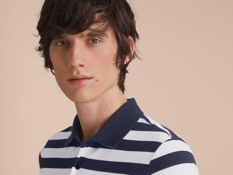 Striped Cotton Polo Shirt White/navy - cell image 4
