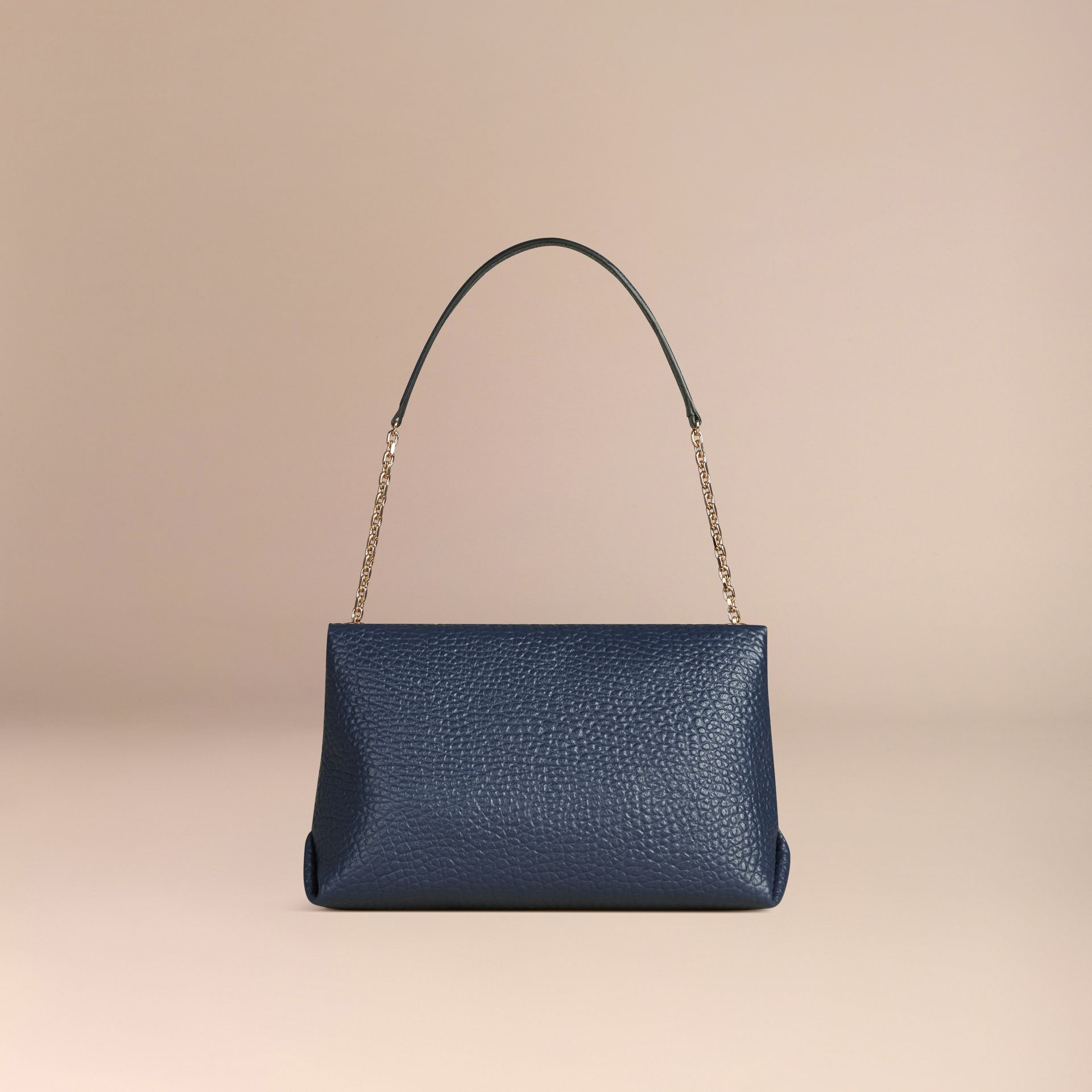 Blue carbon Large Signature Grain Leather Shoulder Bag Blue Carbon - gallery image 4