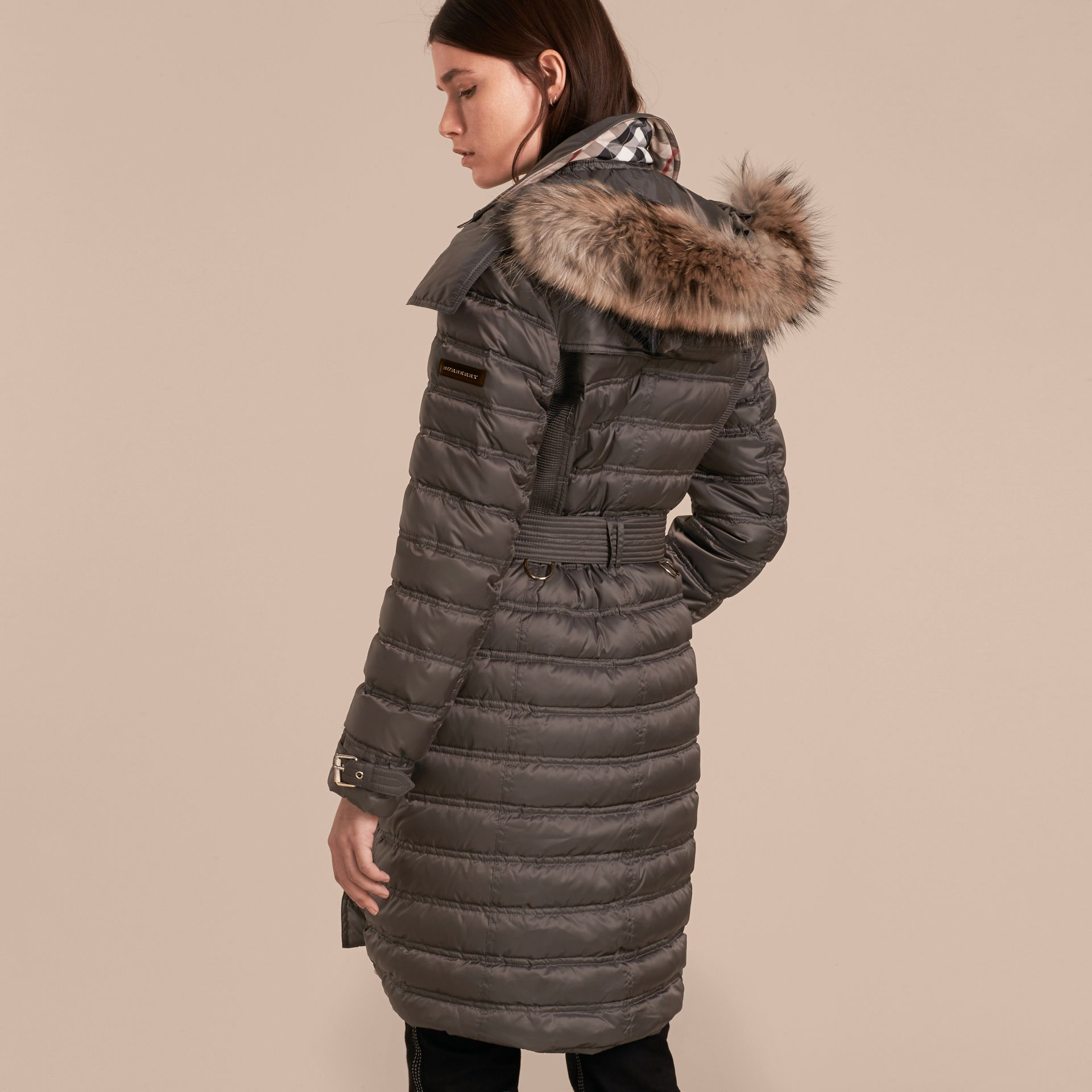 Mid grey Down-Filled Puffer Coat with Fur Trim Mid Grey - gallery image 3
