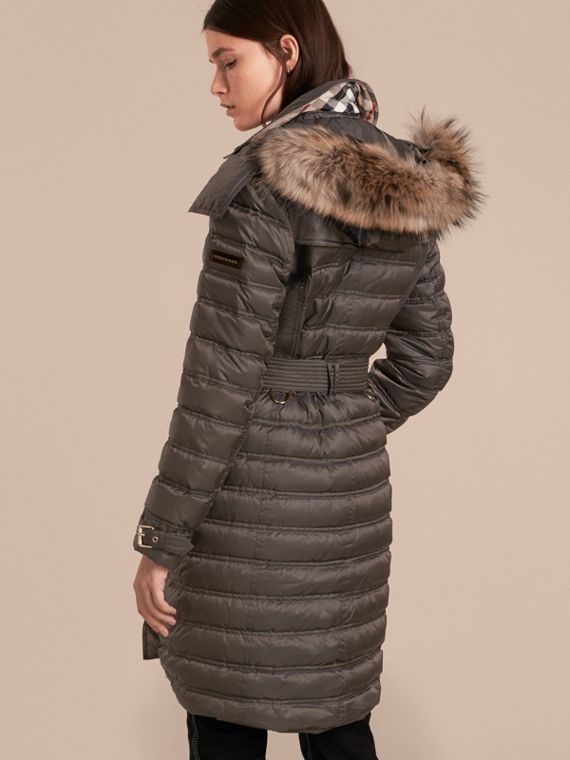 Mid grey Down-Filled Puffer Coat with Fur Trim Mid Grey - cell image 2