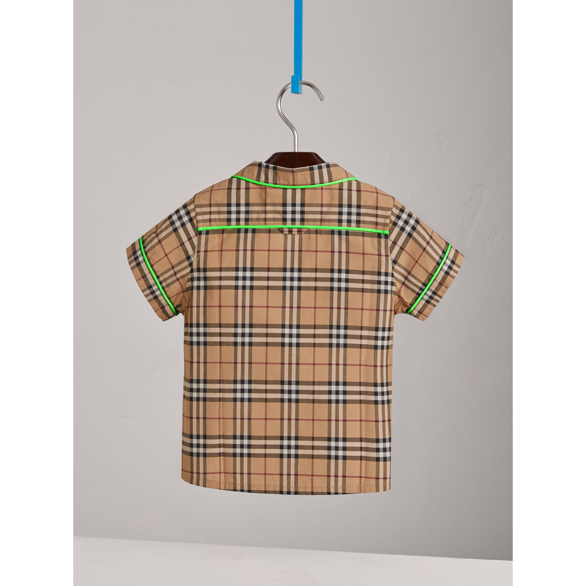 Short-sleeve Piped Check Cotton Shirt in Camel - Boy | Burberry - gallery image 3