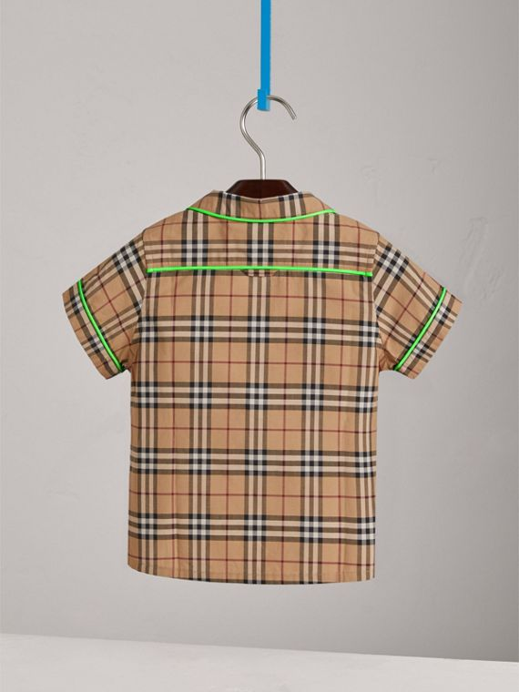 Short-sleeve Piped Check Cotton Shirt in Camel - Boy | Burberry - cell image 3